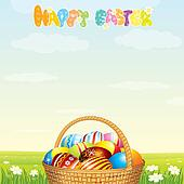 Wicker Basket with Colorful Eggs on Spring Meadow