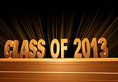 class of 2013 over golden pedestal