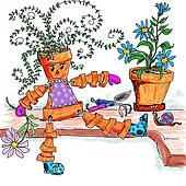 Flower pot lady