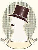 Gentleman in a top black hat and mustache.Vector face silhouette