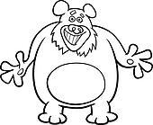 bear cartoon illustration for coloring book