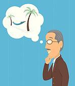 Senior thinking of retirement
