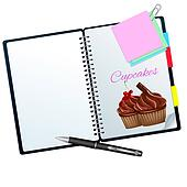 Recipe book ilustrated with choco and cherry cupcakes