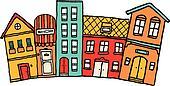 Small cartoon town / Cute colorful neighborhood