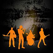 Guitar Group, Vector Illustration with a Rock Band against grunge wall background