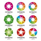abstract multicolored logo of the petals