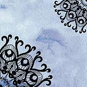 Elegant lacy doily on watercolor background.