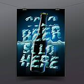 Banner with cold bottle of beer is in ice
