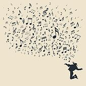 Silhouette various musical notes