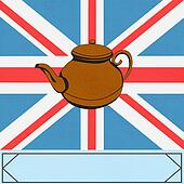 The Great British Tea Pot, vector background with ateapot over a UK Union Jack