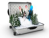suitcase ski and snowboard with snow inside