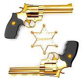 Golden revolver gun