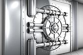 illustration of bank vault door, front view