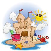 Sand Castle Beach Cartoon