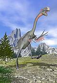 Gigantoraptor dinosaur running - 3D render
