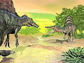 Spinosaurus dinosaurs fight - 3D render
