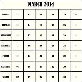 2014 MARCH Planner Calendar