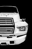 Large White Truck on Black
