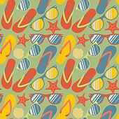 Seamless pattern with flip flops, sunglasses and starfish
