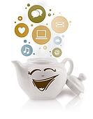 Coffe pot with social and media icons in colorful bubbles