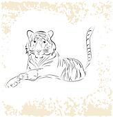 Big tiger relaxing on grunge background,vector eps10