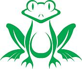 fun green stylized frog