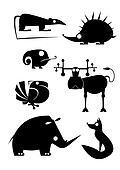 Vector original art animal silhouet