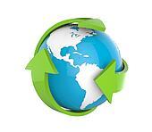 Earth Globe with Green Arrows