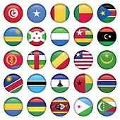 Africa Flags Round Buttons