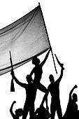 Freedom fighters - silhouette illustration
