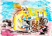 sad ass pet sitting next to a fallen apple cart watercolor drawing
