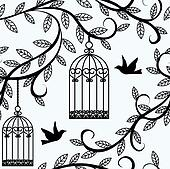 birds flying and cage