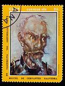 CUBA - CIRCA 1972: A post stamp printed in CUBA , showing artist fernandez, Don Quixote de la Mancha, Circa1972