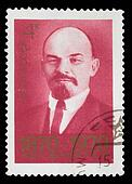 USSR - CIRCA 1970: A Stamp printed in USSR, shows portrait of leader USSR, cheerful smiles Vladimir Ilyich Lenin, circa 1970