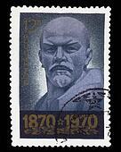 USSR - CIRCA 1970: A Stamp printed in USSR, shows portrait full face of leader USSR Vladimir Ilyich Lenin, circa 1970