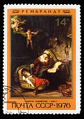 "USSR - CIRCA 1976: Stamp printed in USSR, shows ""Holy Family"", Rembrandt 1645 ,  series ""Rembrandt Paintings in Hermitage"", circa 1976"