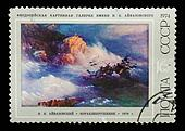 "USSR - CIRCA 1974: A stamp printed in USSR, shows paint of artist Ivan Aivazovsky ""Ship-wreck"", circa 1974"