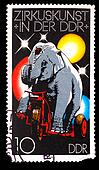 GERMANY - CIRCA 1978: A stamp printed in GERMANY, elephant on a bicycle at circus, circa 1978
