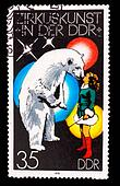 GERMANY - CIRCA 1978: A stamp printed in GERMANY, polar bear and girl perform at circus, circa 1978