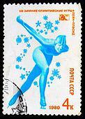 USSR - CIRCA 1980: A stamp printed in USSR, skating, skater skating runs, Olympic Games in Lake Placid 1980, circa 1980