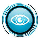 eye blue circle glossy icon