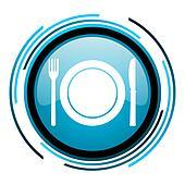restaurant blue circle glossy icon