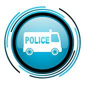 police blue circle glossy icon