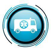 ambulance blue circle glossy icon