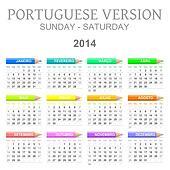 2014 crayons calendar portuguese version
