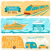 Set of horizontal travel banners in retro style.