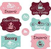 Set of vintage bakery labels. Vintage frames with cupcakes