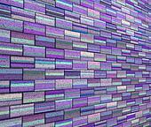 3d mosaic tile brick wall in purple blue stripe