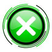cancel green circle glossy icon