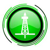 drilling green circle glossy icon